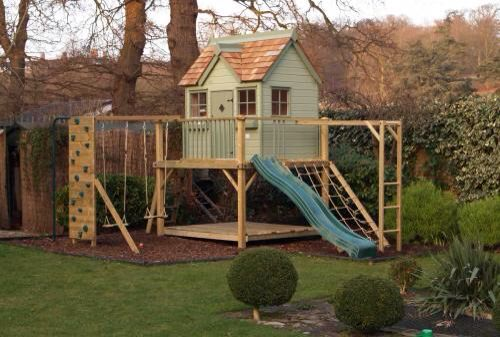 Painted climbing frame