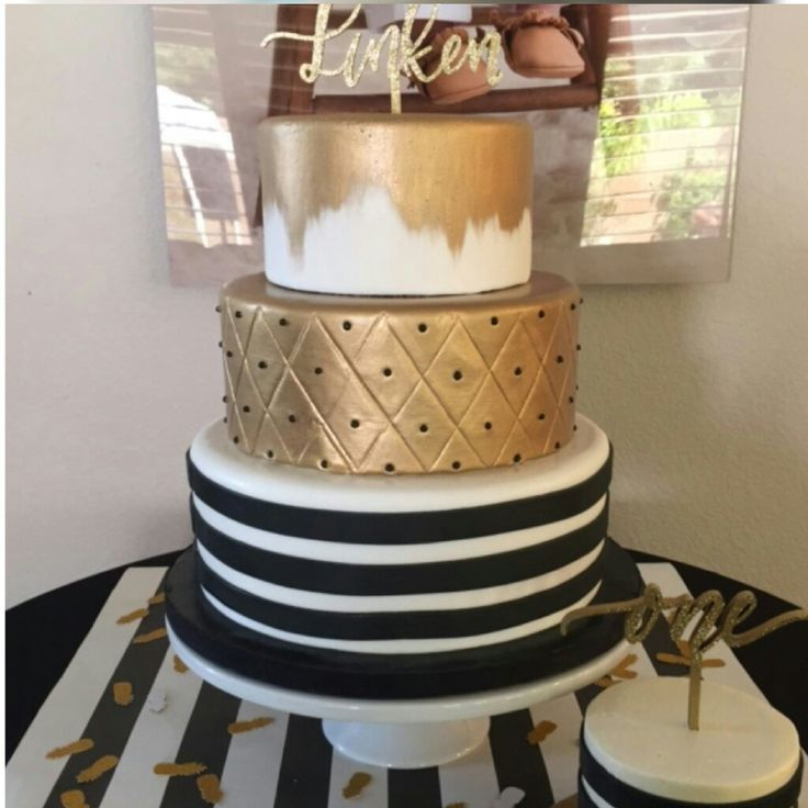 Three Tier Black And White Stripes With Gold Leaf Quilting