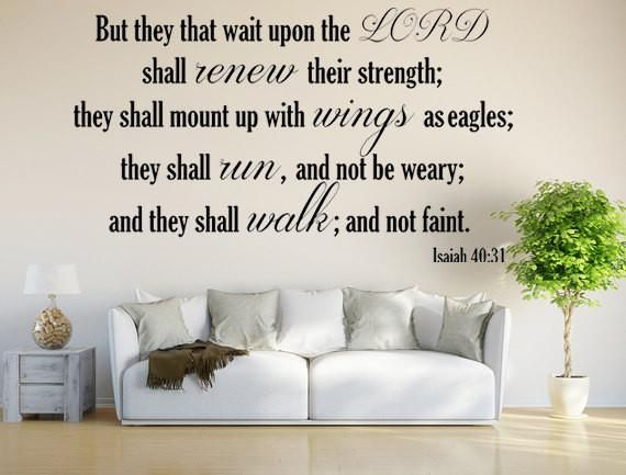 Isaiah 40:31 KJV Vinyl Wall Scripture But They That Wait Upon The LORD Custom Vinyl Lettering Custom Wall Decal Bible Quote Wings As Eagles - Inspirational Wall Signs