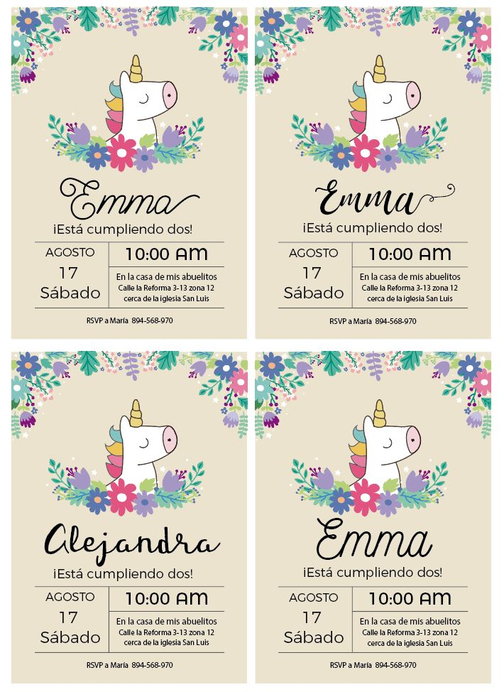 invitacion unicornio baby shower