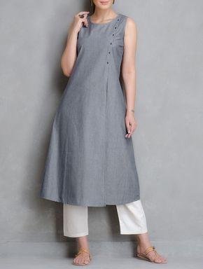 Buy Blue Stripe Button Down Cotton Kurta Women Kurtas Woman Divine Contemporary and Tunics Online at Jaypore.com