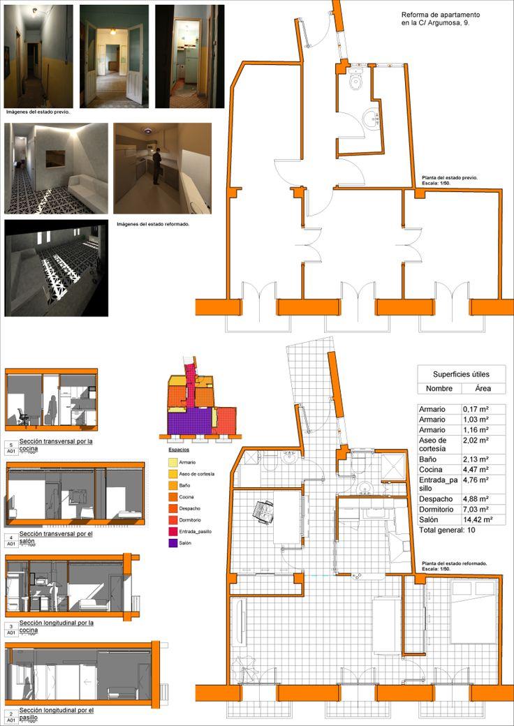 Reforma de apartamento en la calle Argumosa, 9. Madrid, España.   #3D #revit #BIM #sections #plans #diagram #architecture #reform #apartment #madrid #spain