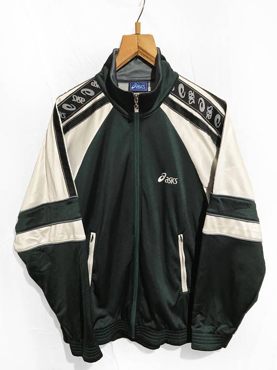 487dcf1fd0ddb Vintage 1991 Asics Windbreaker Tracksuit Top jacket Sleeve logo ...
