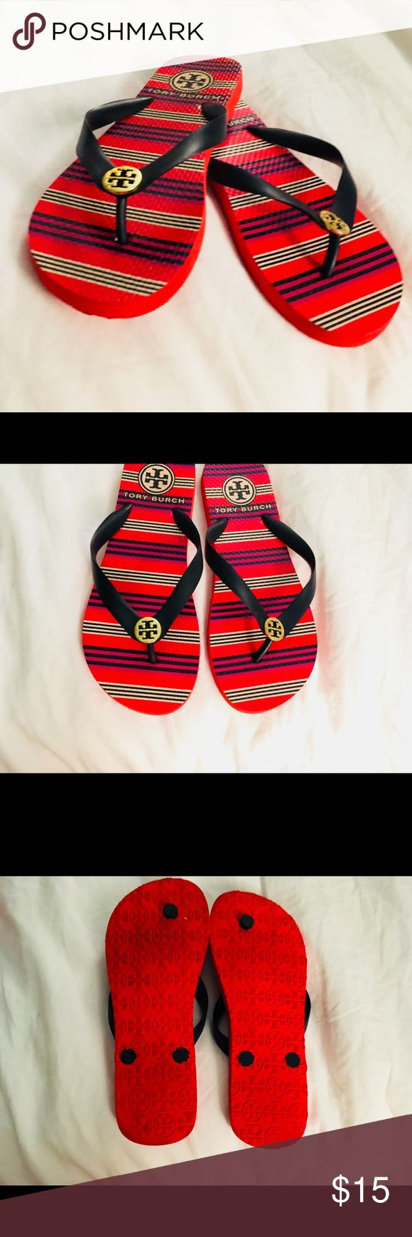 Tory Burch striped blue and red flip flops Barley used condition Tory Burch striped blue and red flip flops Tory Burch Shoes Sandals
