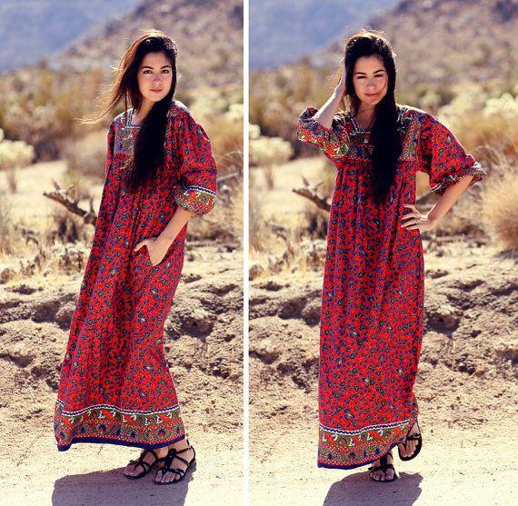 Festive Ethnic Long Maxi Caftan MuuMuu  Folky by BadJamesVintage, $45.00
