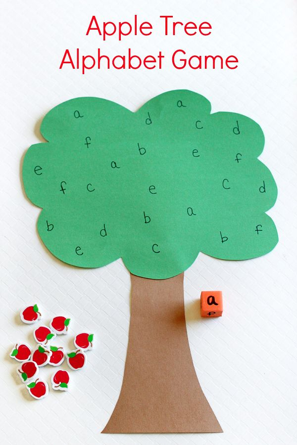 Apple theme alphabet activity for preschoolers and kindergarteners. Fun roll and cover ABC game for kids.