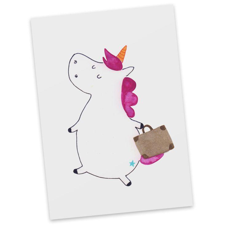 Postkarte Einhorn Koffer aus Karton 300 Gramm  weiß - Das Original von Mr. & Mrs. Panda.  Diese wunderschöne Postkarte aus edlem und hochwertigem 300 Gramm Papier wurde matt glänzend bedruckt und wirkt dadurch sehr edel. Natürlich ist sie auch als Geschenkkarte oder Einladungskarte problemlos zu verwenden. Jede unserer Postkarten wird von uns per hand entworfen, gefertigt, verpackt und verschickt.    Über unser Motiv Einhorn Koffer  Das reisefreudige Einhorn ist perfekt für Leute, die im…
