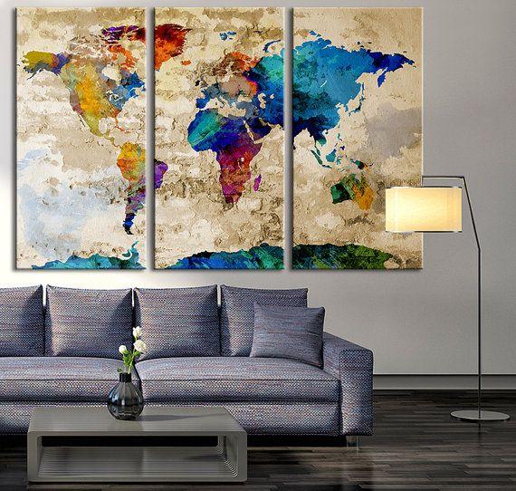 Aquarel wereld kaart Canvas Print grote door ExtraLargeWallArt