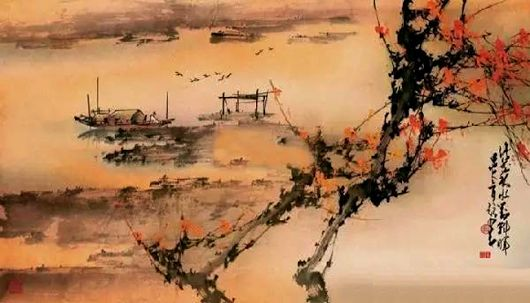 A landscape painting by Chinese artist Zhao Shaoang (1905-1998)