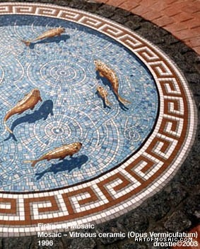 Fishpond floor mosaic - wonderful trompe l'oeil