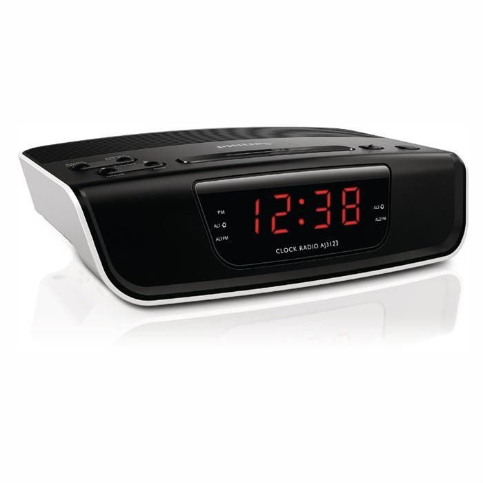 PHILIPS AJ3123 - Radio réveil - Tuner Radio FM (Présélections: 10 stations) - Puissance de sortie (RMS): 100 mW - Horloge numérique - Différentes alarmes ...