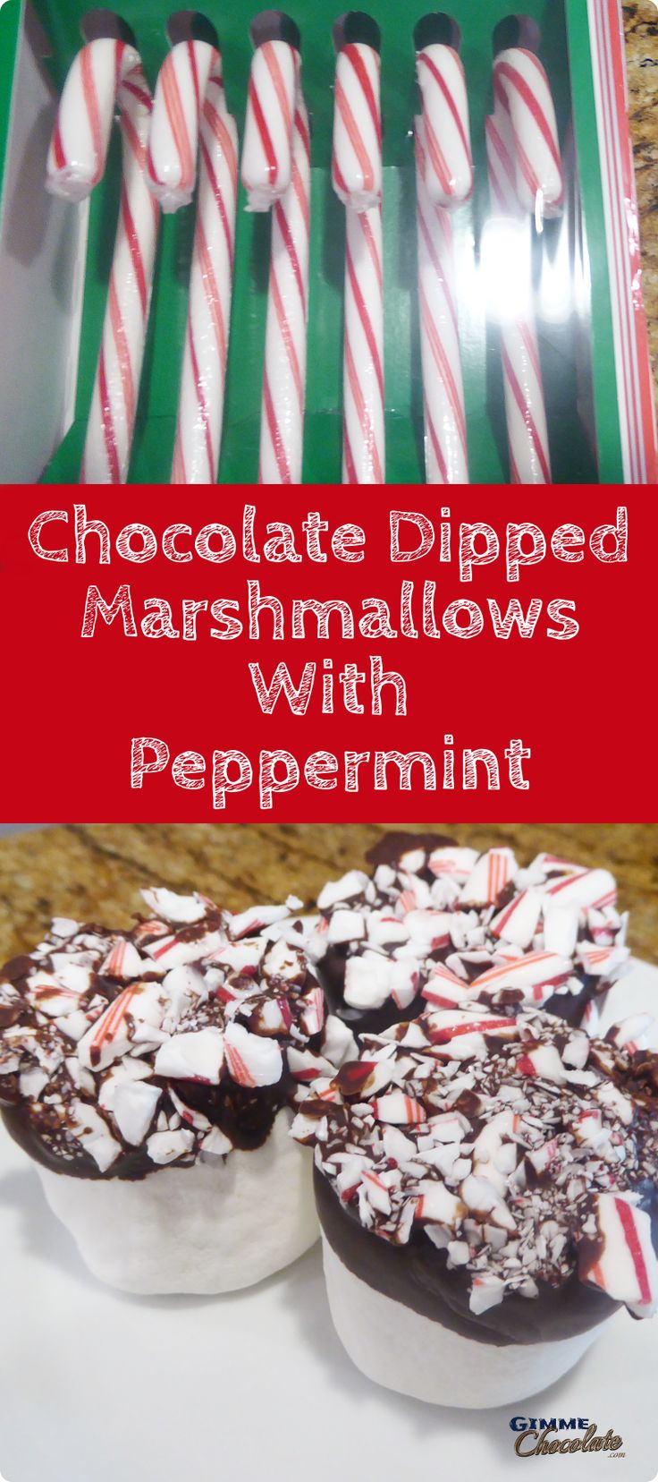 Chocolate Dipped Marshmallows With Peppermint