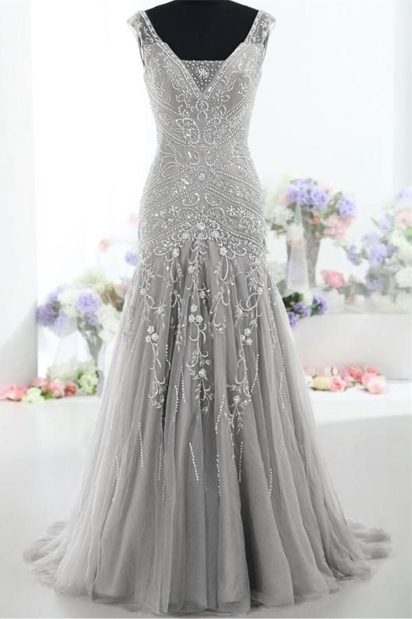 Silver Long Mermaid Lace Up Beading Modest Prom Dresses,Evening Dresses Z0289