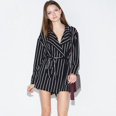 Long sleeve white black striped playsuits women spring street chic V neck tied waist wrap over rompers ladies OL work playsuits