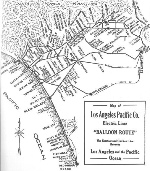 Beach Trolley Map form the turn of the century. Los