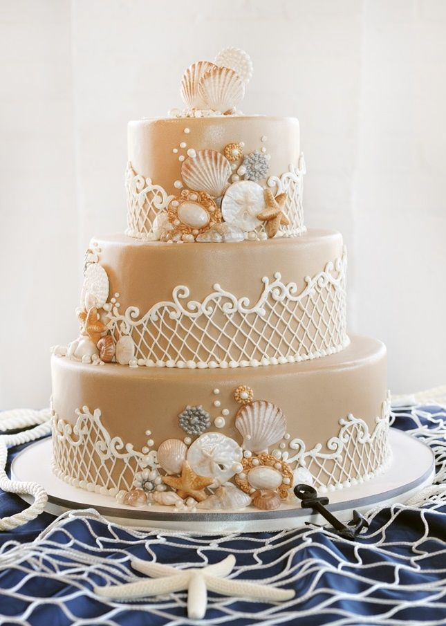This seashell cake is perfect for a beach wedding.