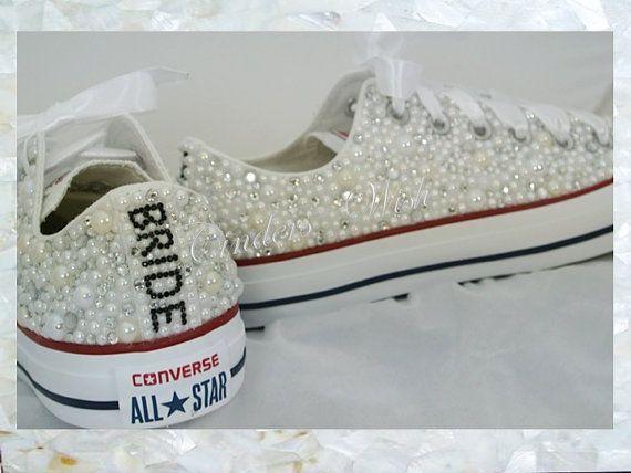 Luxus Perle Wunderkerzen / ganz über Converse / Hochzeit Converse / Hochzeit Swarovski Converse / Perle Converse / maßgeschneiderte Converse / Abschlussball konvex   – Abnehmen•