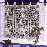 "Free Filet Crochet Curtain Patterns | 11"" wide x 25"" long (27.5 x 63 cm)"