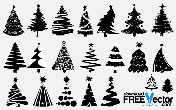 Free vector Christmas Tree silhouettes clip art images.. More Free Vector Graphics, www.123freevectors.com