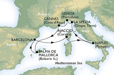 8 Days, 7 Nights MSC FANTASIA Cruise Itinerary Italy, France, Spain departs on 6/5/2016