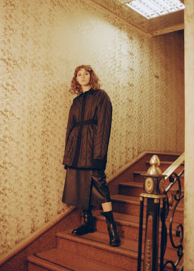 Ann Demeulemeester jacket, Maison Margiela skirt, Rick Owens boots