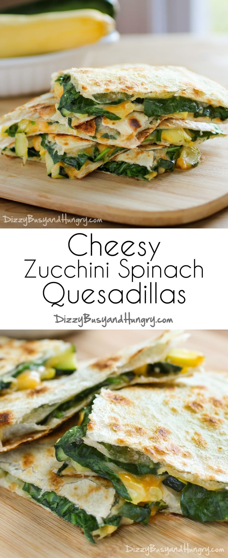 Cheesy Zucchini Spinach Quesadillas