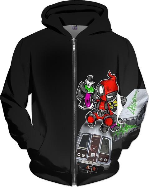 Deadpool doing what he does, leaving a trail of chaos and destruction, fun Deadpool parody subway graffiti vandal bhoodie