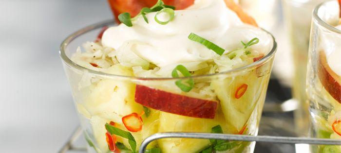 Miracel Whip - Rezept - Miracel Whip Schichtsalat mit Schinken-Chips