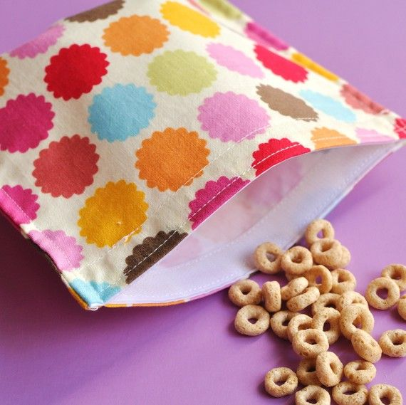 Reusable Snack Bag- Colorful Scalloped Dots