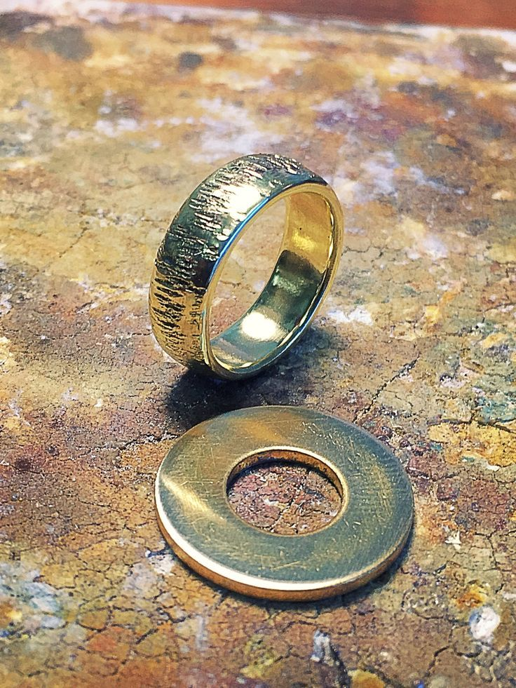 Brass washer from hardware store converted into men's textured ring.
