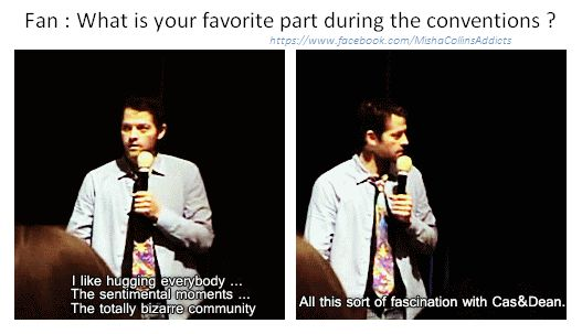 Misha Collins on Supernatural conventions || I hope he really is okay with hugging, because I'm really looking forward to my first SPN con.