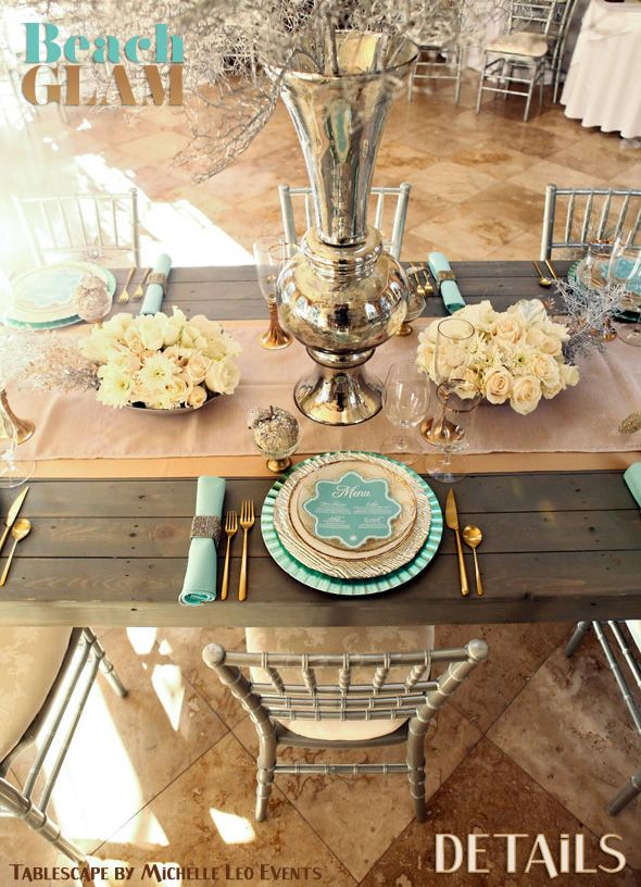 Beach Glam Decor and Details - Aqua Mint and Luxe Gold