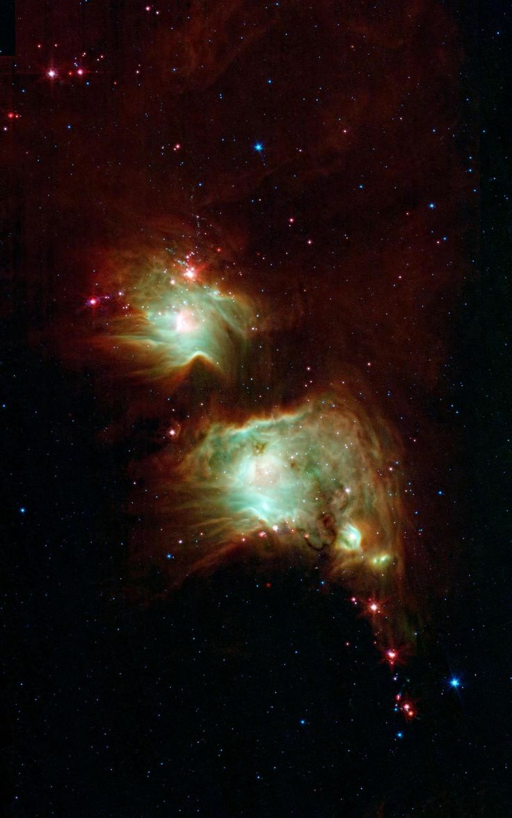 Making a Spectacle of Star Formation in Orion Looking like a pair of eyeglasses only a rock star would wear, this nebula brings into focus a murky region of star formation. NASA's Spitzer Space Telescope exposes the depths of this dusty nebula (M 78) with its infrared vision, showing stellar infants that are lost behind dark clouds when viewed in visible light.