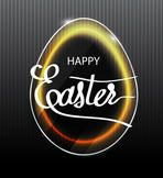 Banner with a light effect. Neon lighting. LED . Green neon glow. Easter lettering