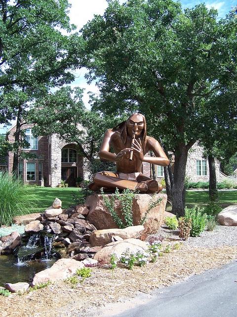 flute player sculpture, Medicine Park, Oklahoma