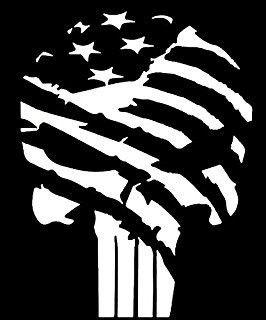 TATTERED PUNISHER AMERICAN FLAG SKULL VINYL STICKER