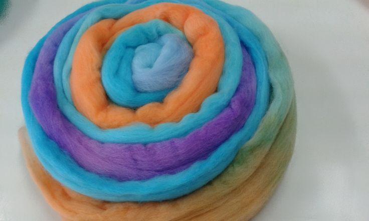 Merino wool roving Australian wool tops. 19 micron Spinning fibre, felting wool, needle felting wool  Multi Orange Blue Purple 11517 by feltfibrecraft on Etsy