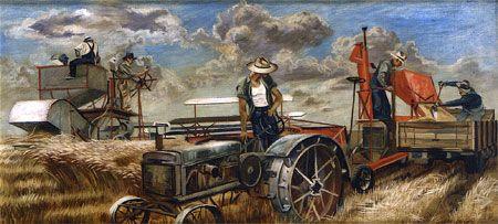 1939 Joe Jones (American artist, 1909-1963) Harvest Scene It's About Time: 1930s America's Great Depression - Joe Jones 1909-1963