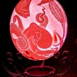 Unique Living Room Table Lamp – Made Heart Carved Handmade Unique Ostrich Egg Lamp Kingdom Of Poseidon