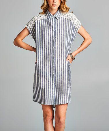 Loving this Dark Denim Stripe Cutout Shirt Dress on #zulily! #zulilyfinds