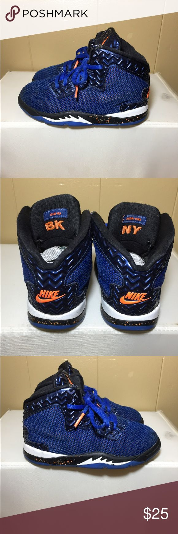 "Air Jordan Spike 40 -  size:10c -colorway:	blue/orange-white,black -stylecode:807545-405 -Release Date:2015 -conditions: slight signs of wear,small tears near tounge -NO box  ⬅️ -100% authentic⬅️ -🚫no trades🚫 -Open to serious offers via the "" offer"" feature⬅️ -sold as is!!!please look at all pictures and ask questions before buying shoes ⬅️ -irrelevant comments will get you blocked Jordan Shoes Sneakers"