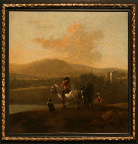 "Attributed to Karel Dujardin. ""Landscape with Horsemen."" 17th C. Oil on panel."