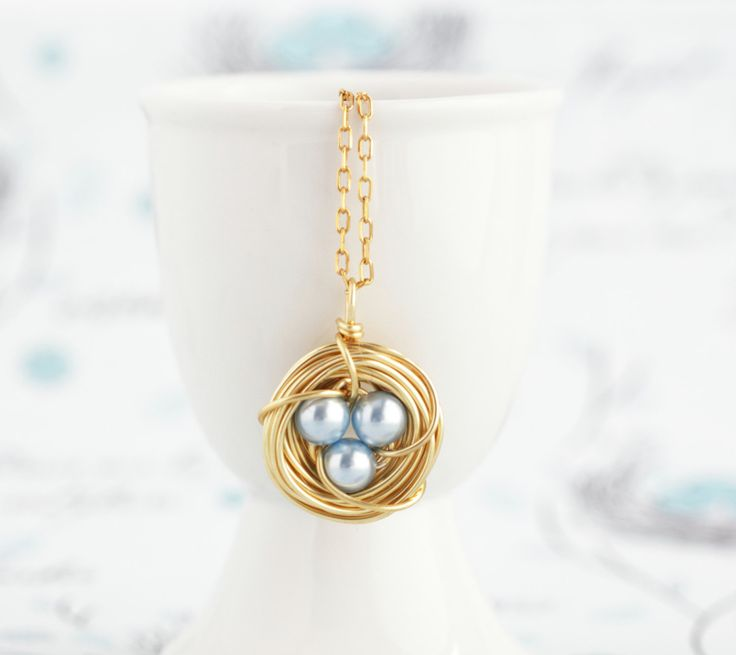 Moms Necklace, Pearl Bird Nest Necklace, Rustic Jewelry, Push Present For Expectant Mom, New baby Gift, Gift From Son by JacarandaDesigns on Etsy https://www.etsy.com/listing/288156569/moms-necklace-pearl-bird-nest-necklace