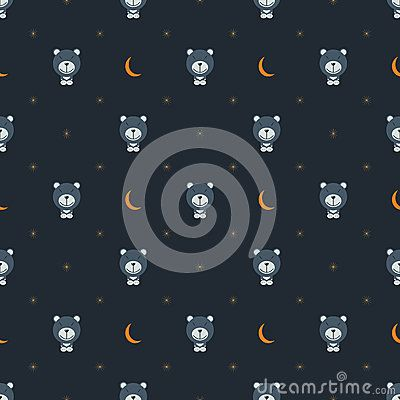Bear with moon and stars vector pattern