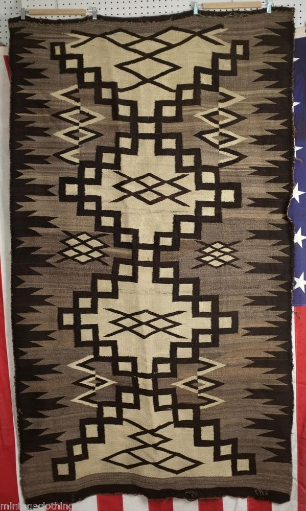 Antique Navajo Crystal Native American Indian Rug 1890 1930