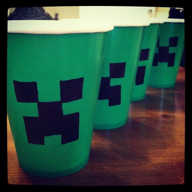 Decorating Minecraft Creeper cups for birthday party!
