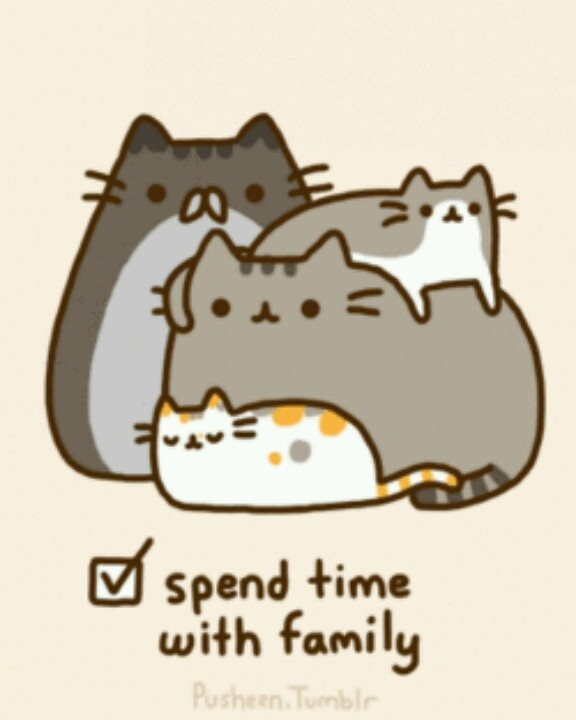 Pusheen And His Family Here Comes Pusheen Pinterest
