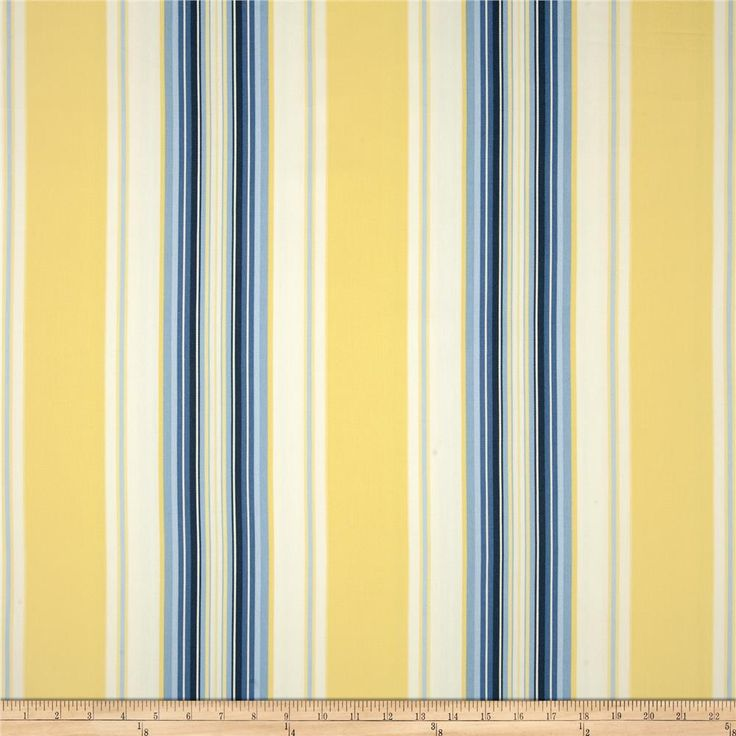 Kitchen Curtains Fabric Curtains Fabric Stripe Drapes: Duralee Home Claires Stripe II Twill Blue/Yellow From