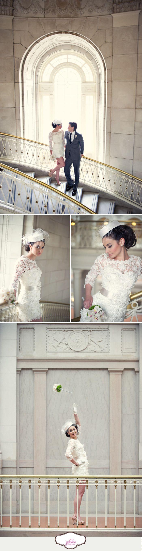 Vintage city hall wedding shoot. Dress is Daphne by Modern Trousseau. Photography by Carla Ten Eyck.