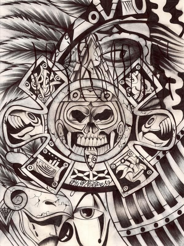 aztec chicano pride tattoo drawing designs tattoos lowrider warrior drawings azteca lettering calendar culture cholo mayan arte mexican stencil symbols